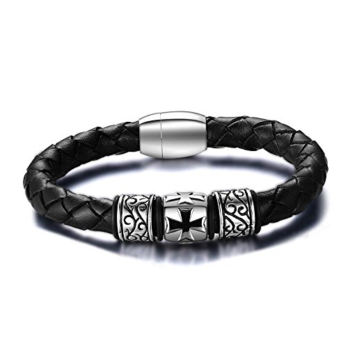 Herren Armband Männer Hand Ornamente 21,5 cm Männer Kreuz Leder-Armband schicken Freunde und Verwandte,Das Armband der Liebe