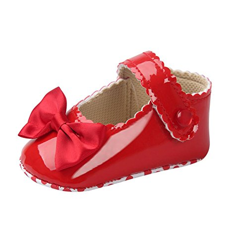 MiyaSudy Baby M盲dchen PU Lederne Weiche Sole Bowknot Prinzessin Mary Jane Schuhe Rot