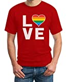 LGBT Shirt Homosexuell Gay Pride Regenbogen Herz in Love Rainbow Herren T-Shirt X-Large Rot