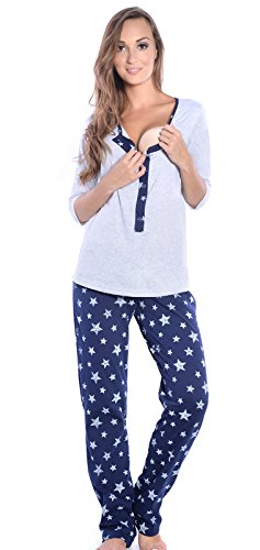 Mija - 3 in 1 Stillpyjama / Stillschlafanzug / Umstandspyjama / Pyjama 4054 Grau / Dunkelblau