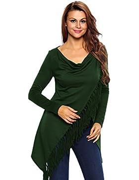 Nueva mujer verde asimétrico con flecos Poncho chaqueta capucha Casual Wear tamaño S UK 8–10EU 36–38