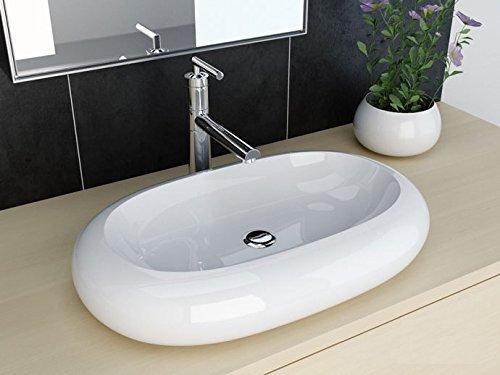 NEG Waschbecken Uno25A (oval) Aufsatz-Waschschale/Waschtisch (weiß) mit breitem Rand und Nano-Beschichtung