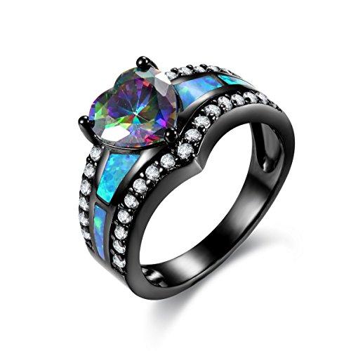 Kingwin Damen -    Rhodiniertes Basismetall Halbmondschliff Herzschliff Baguetteschliff   Mehrfarbig blau Farbe wechselt Opale