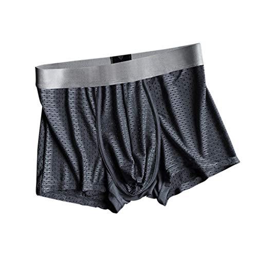 BBring Herren Boxershorts Einfarbig mit Gummibund Undercover Atmungsaktive Komfortable Elastisch Unterwäsche Retroshorts (2XL, Dunkel Grau) -