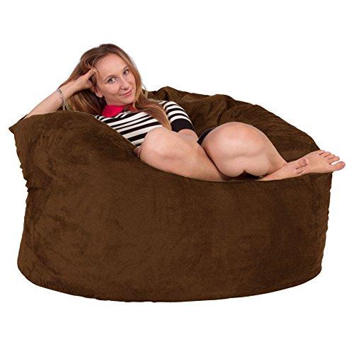 Lounge Lizard Wildleder - RIESEN Sitzsack Sofa – Riesen Sitzsack, Velours, großes Sofa, Relax Matratze, UK - Schoko