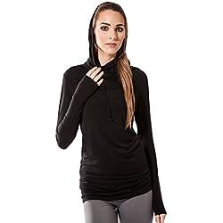 Sternitz Camisa Fitness Para Mujer, Bhakti Hoodie de, Ideal Para Hacer Pilates, Yoga y Cualquier Deporte, Tela de Bambú, Ecológica y Suave. Cuello Largo. (L, Negro)