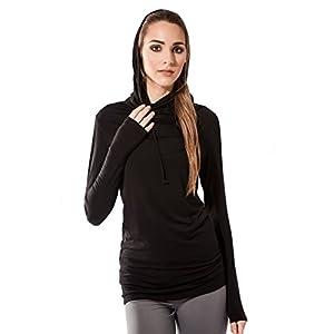 Sternitz Fitness Frauen-Shirt, Hoodie Bhakti, ideal für Pilates, Yoga und jeder Sportart, Bambusgewebe, ökologische und weich. Langer Hals.