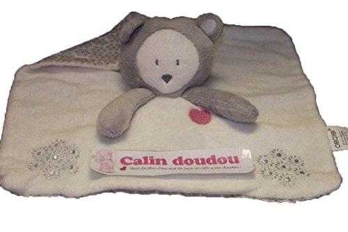 Obaibi / Okaidi - Doudou obaibi okaidi ours renne cerf plat blanc gris etoile neige cœur rose - 3582
