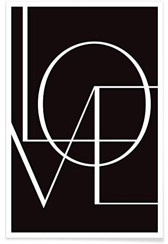 """JUNIQE Poster 20x30cm Schwarz & Weiß Liebe & Romantik - Design """"Love"""" (Format: Hoch) - Bilder,..."""