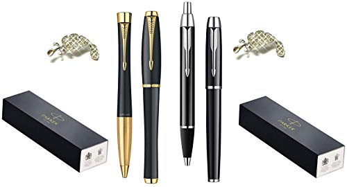 High Quality Premium Luxury Gift Sets Muted Black with Gold Trim Urban and Black with Chrome Trim Finish IM Ballpoint/Rollerball Pens Medium Nib Black Ink by Parker + 2 Gift Crystals Feather Brooches - Set Gold Trim