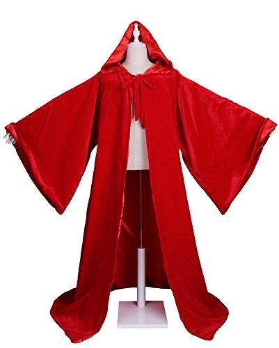 rer Wicca Robe Gothic Mantel mit Kapuze Umhang (Rot) (Volturi Kostüme)