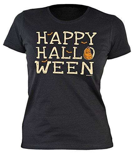 Halloween Damen T-Shirt - Coole Sprüche/Motive für Halloween : Happy Halloween - Damenshirt Fledermaus Kürbis Sprüche Gr: XXL (Fledermaus Halloween Sprüche)