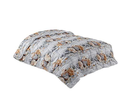 WOMETO - Tagesdecke, XXL im Landhaus-Stil Herz grau,beige & apricot 220x240, wertiger Wellensteppung, OekoTex