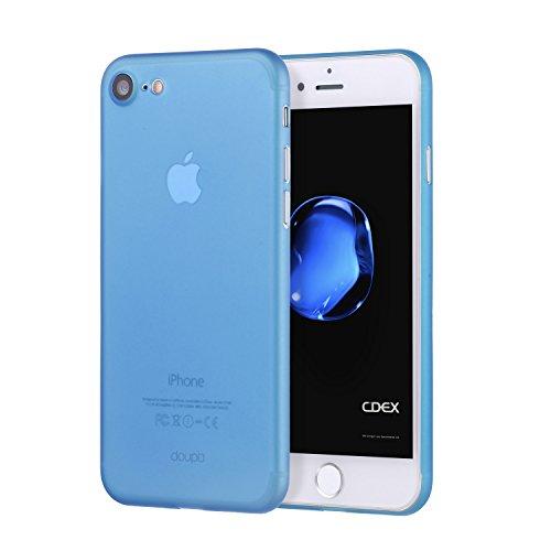 doupi UltraSlim Hülle für iPhone 8/7 (4,7 Zoll), Ultra Dünn Fein Matt Oberfläche Handyhülle Cover Bumper Schutz Schale Hard Case Taschenschutz Design Schutzhülle, blau Hard Case Handy Cover