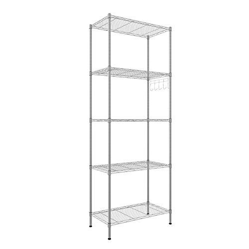 Homdox Regal Standregal Metallregal mit 5 Regalböden für Garage, Küchen, Organisation L54 x W29 x H150cm, Silber (Silber, 5 Ablage)