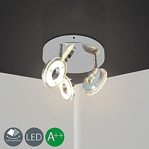 HJ 18W LED Deckenleuchte schwenkbar Moderne Deckenlampe Deckenstrahler Wohnzimmer Lampe Deckenspots Innenleuchte Schlafzimmer Flur Kinderzimmer Küche 3 Flammig Warmweiss 1800LM