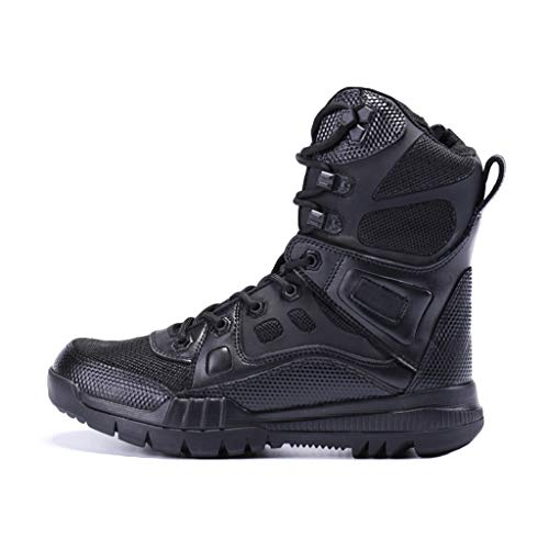 YongBe Boots Herren Leichte militärische Taktische Kampfstiefel Police Man Black High-Top-Schnürschuhe Commando Army Boot Outdoor Desert Trekking Wanderschuhe,A- 27.5CM=EU44=UK9.5