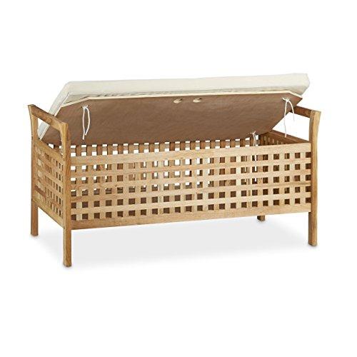 Relaxdays Sitzbank Walnuss mit Stauraum HBT: 46,5 x 92,6 x 49,0 cm Schuhtruhe aus Holz Sitzkommode mit Auflage aus Leinen, Dielenmöbel Truhenbank, natur weiß -