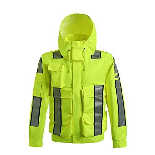 XMGJ Sicherheitswesten Reflektierender Regenmantel Professionelle wasserdichte und haltbare verschleißfeste Hochgeschwindigkeits-Straßenverkehrsdienst-reflektierende Kleidungs-Jacke fluoreszierende ge - Ge Kleidung