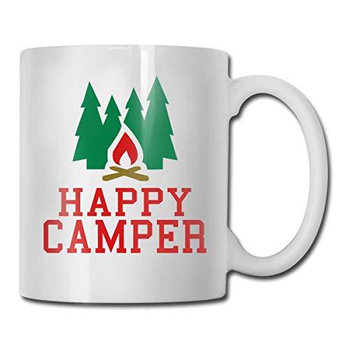 Daawqee Becher Coffee Mugs 11oz Funny Cup Milk Juice Or Tea Cup Happy Camper Birthday - Becher Happy Camper