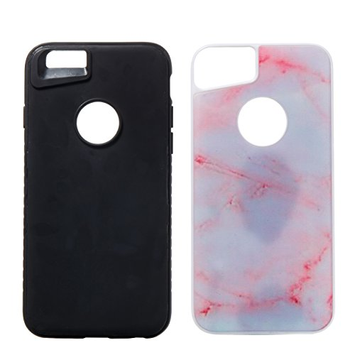iPhone 6S Hülle,iPhone 6 Hülle,iPhone 6 / 6S TPU Silikon Hülle,ikasus® [Heavy Duty Serie] Marble Marmor Muster Hybrid Outdoor Dual Layer Armor Hülle Case Handy Schutzhülle für Apple iPhone 6 / 6S (4,7 Rosa Marmor