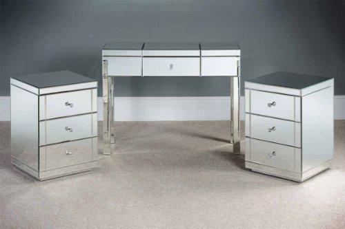 MY-Furniture - Tocador de espejo y 2 Mesillas de noche de espejo...