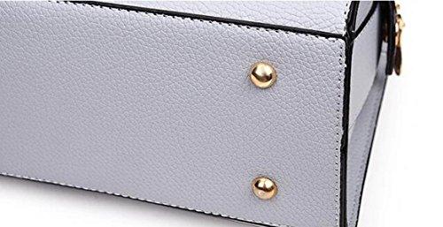 DHFUD Frauen Leder Schultertasche Handtasche Auto Naht Einfarbig Mode Täglich Darkblue