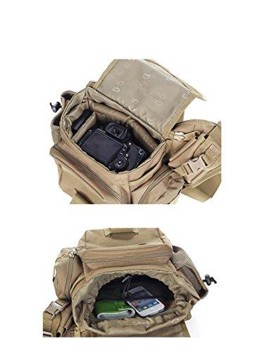 F@Esterno in nylon impermeabile fotocamera SLR fotocamera borsa, borsa a tracolla, borsa Messenger, esercito ventilatore tattico pacchetto strumenti uomo borse, Digital Camo , khaki / brown wolf acu number