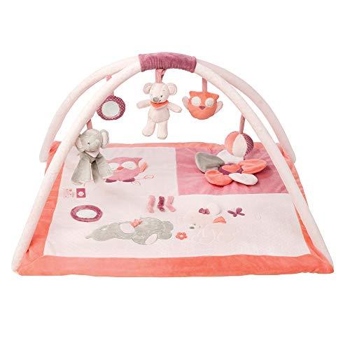 Nattou Gepolsterte Krabbeldecke mit Spielbogen, Mädchen, Rechteckig 80x70 cm, rosa - Adèle und Valentine