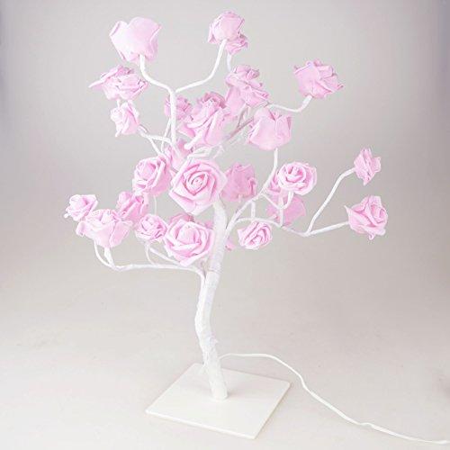 Lichterbaum LED rosa weiß 45cm 32LED Baum Rosen Lichtbaum Rosenblüten Leuchtbaum