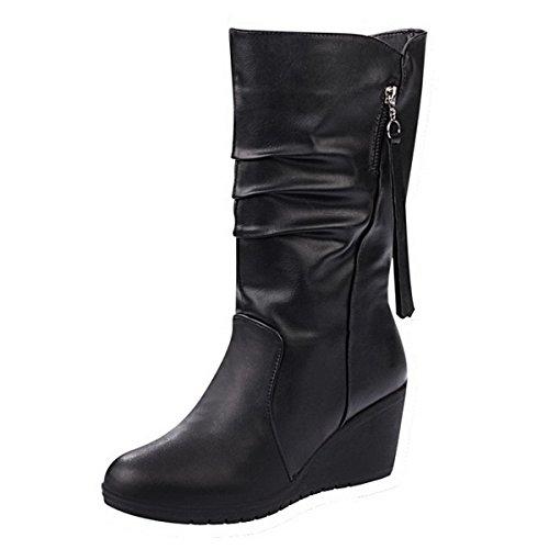 Ahatech Stiefel Mädchen Leder Winter Lederstiefel mit Absatz Regen Stiefel Lila Mädchen