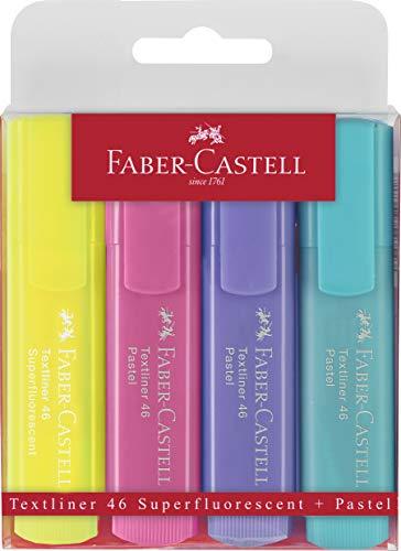 Faber-Castell 154610 Penna Textliner Highlighter 46 Pastel Colours, Confezione da 4