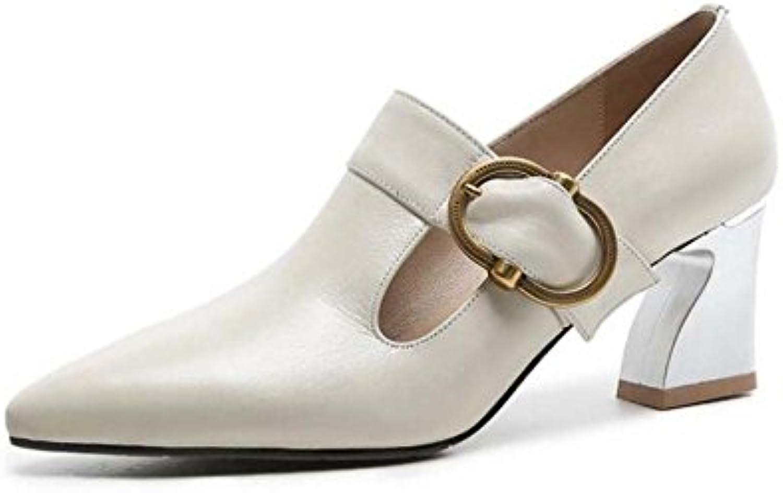 Zapatos de Tacón Alto de Corte bajo para Mujeres Sandalias con Hebilla de Confort de Moda Negro/Blanco Crema Tamaño...