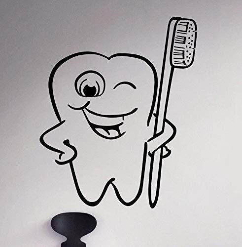 XIAOJIE0104 Zahnpflege Wandtattoo Zahnbürste Reinigung Vinyl Wandaufkleber Badezimmer Dekor Zähne Klar Wandkunst Aufkleber Abnehmbare Aufkleber 42 * 51 cm