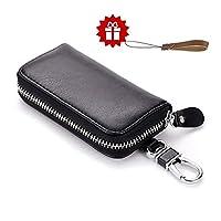 Leather Key Wallet HmiL-U Premium Zipper Genuine Leather Car Keychain Key Holder Key Case Bag Credit Card Holder Wallet??�With A Free Leather Lanyard??? (Black)