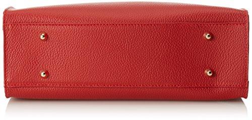 CTM Elegante Handtasche der Frau mit Außenschulterriemen für Schulter tragen, echtem Leder in Italien - 34x29x13 Cm Rot (Rosso)