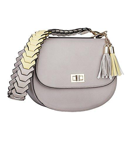 SIX Damen Handtasche, Umhänge Sattel Tasche, Taupe, abnehmbarem Gurt, mit Tassel Anhänger (427-833)