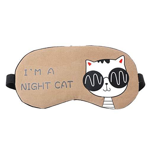 MSYOU Schlafmaske, einfache süße Cartoon-Katzen-Stil, Schattierung, Ermüdung der Augen, verstellbar, für Nacht, Tag und Nacht, Unisex