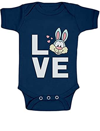 90a0d7401 Love Bunny - Happy Easter Bodysuit Cute Easter Bunny Baby Onesie 0-3 months  Navy
