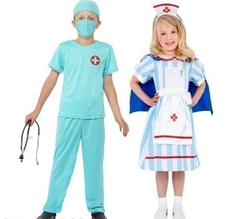 Jungen Mädchen Kinder Chirurg Arzt Pflegepersonal ER Uniform Fancy-dress Kostüm Verkleiden Outfit 4-12 jahre - Jungen, EU (Kostümen Chirurgen Kind)