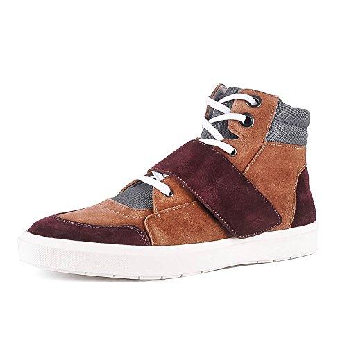 Yolkomo Herren Wildleder High Top Sneaker Chukka Stiefel Mit Zusätzlichem Klettverschluss Braun/Kaffee 40