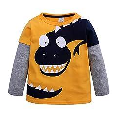 Idea Regalo - Topgrowth Maglia A Maniche Lunghe Bimbo Stampa di Dinosauri Neonato Maglietta Top per Bambini T-Shirt Forma di Cartone Animato Camicia Camicetta Patchwork Pullover