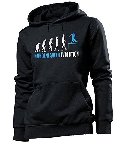 love-all-my-shirts Hürdenläufer Evolution 615 Sport Frauen Damen Hoodie Pulli Kapuzen Pullover Kapuzenpullover Sportbekleidung Sport Fanartikel Schwarz Aufdruck Blau S