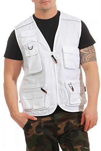 Mivaro Herren Safari-Weste mit vielen praktischen Taschen, funktionale Arbeitsweste, Outdoor-Weste, Größe:S, Farbe:Weiß
