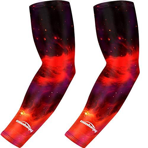 COOLOMG Ärmlinge Kompression Basketball Volleyball Radfahren Joggen Rutschfest UV-Schutz Mehrfarbig L 1Paar
