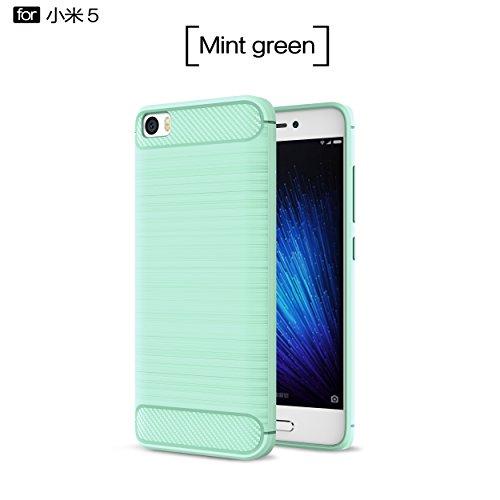 Xiaomi Mi5 Funda - BCIT Carcasa Caso Cubierta de Protección de TPU Silicona con Textura de Fibra de Carbono para Xiaomi Mi5 - Verde