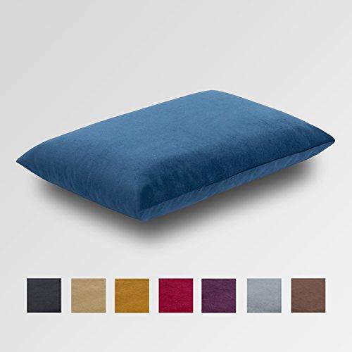 Orthopädisches Sofakissen aus Visco Soft Gel mit edlem Samt Bezug in Ihrer gewünschten Farbe. Kopfkissen, Nackenkissen, Reisekissen, Kuschelkissen zum Schlafen, Größe ca.40x60 cm - Farbe: Blau