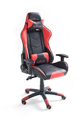 MC Racing 5 Silla de Gaming/Oficina/Escritorio con Asiento Deportivo, Poliéster, Negro y Rojo, 58x69x125 cm