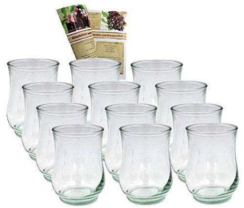 gouveo 12er Set Windlichtgläser für Kerzen bis 55 mm, Windlichter, Windlichthalter, Vase, Desserglas
