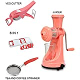 JD Manual Fruit And Vegetable Juicer + 6 In 1 Slicer + Veg.Cutter + Tea And Coffee Strainer (COMBO)